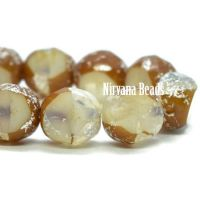 8mm Table Cut Faceted Round Ivory with a Brown and Mercury Finish