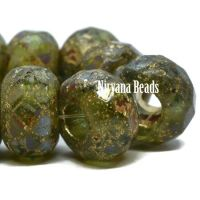 8x12mm Large Hole Roller Bead Peridot with a Picasso Finish, Gold Wash, and An Etched Finish