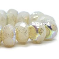 6x9mm Large Hole Roller Bead Ivory with a Mercury and AB Finish