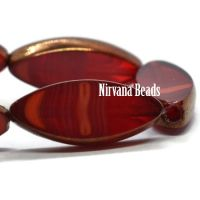18x7mm Spindle Ruby Red and Ladybug Red with Bronze Finish