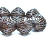 11mm Tribal Bicone Pale Blue with a Metallic Purple Iris Finish and Brown Wash
