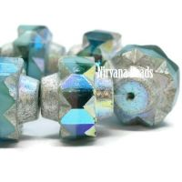 13x15mm Crown Sea Green, Sky Blue and Teal with An Antique Silver and AB Finish
