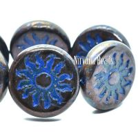 22mm Sun Coin Bronze with a Sapphire Blue Wash