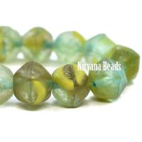 8mm English Cut Avocado, Peridot, and Yellow with An Etched Finish and a Turquoise Wash