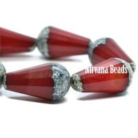 15x8mm Faceted Dangle Drop Ruby Red with An Antique Silver Finish