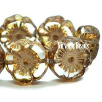 12mm Hibiscus Flower Transparent Glass with a Picasso Finish