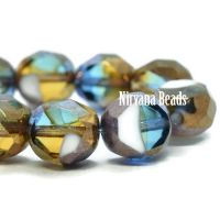 8mm Table Cut Faceted Round Teal, Olive, Yellow and White with a Bronze Finish