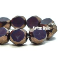 8mm Table Cut Faceted Round Plum with a Bronze Finish
