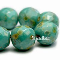 12mm Faceted Round Sea Green with Picasso Finish