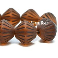 11mm Tribal Bicone Alloy Orange with a Matte Finish and Brown Wash