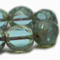 12mm Table Cut Faceted Round Transparent Sky Blue with Picasso Finish