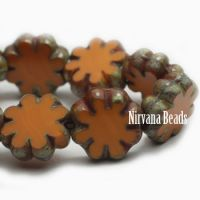 9mm Cactus Flower Alloy Orange with Picasso Finish