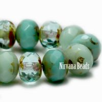 5x7mm Rondelle Tea Green and Sea Green Mix with Picasso Finish