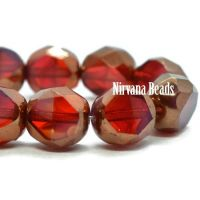 8mm Table Cut Faceted Round Ruby Red and Rosewood with a Bronze Finish