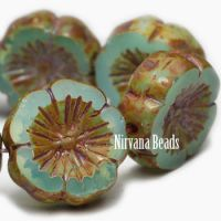14mm Hibiscus Flower Sea Green with Picasso Finish