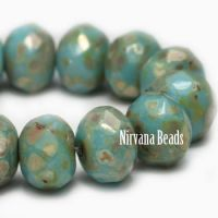 5x7mm Rondelle Medium Sky Blue with Heavy Picasso Finish