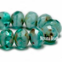 5x7mm Rondelle Sea Green with Picasso Finish
