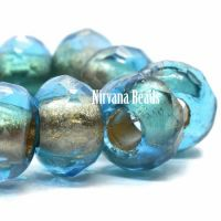8x12mm Large Hole Roller Bead Pacific Blue with Gold Lining