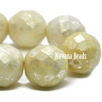 12mm Faceted Round Yellow Ivory with a Mercury Finish