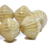 11mm Tribal Bicone Yellow Ivory with Mercury Finish