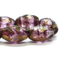 12x8mm Faceted Oval Purple with Bronze Finish