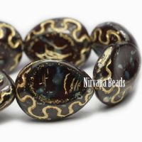 18x14mm Tear Drop Beads BN. Brown Picasso