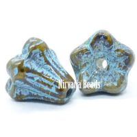 5x6mm Bell Flowers Honey with An Etched Finish and Turquoise Wash