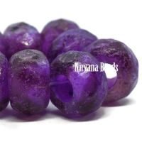8x12mm Large Hole Roller Bead Purple Pansy with a Purple Wash and An Etched Finish
