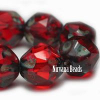 10mm Baroque Beads Ruby Red with Picasso Finish