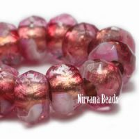 6x9mm Large Hole Roller Bead Pink and White with Copper Lining