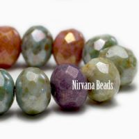 5x7mm Rondelle Bead Mix Of Grape, apricot, stone, and Sage with Picasso Finish