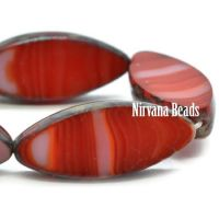 18x7mm Spindle Ladybug Red and White with a Picasso Finish