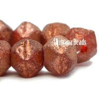 10mm English Cut Burnt Orange with An Etched and Copper Finish