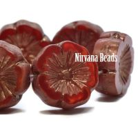 14mm Hibiscus Flower Ruby Red and Ladybug Red with Bronze Finish
