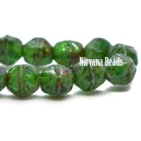 4mm English Cut Green and Sea Green with Picasso Finish