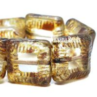 10mm Square Beads Transparent Glass with Picasso Finish