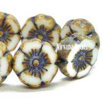 12mm Hibiscus Flower White with a Picasso and Etched Finish with a Purple Wash