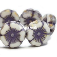 12mm Hibiscus Flower White with Picasso and Etched Finish and Purple Wash