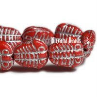 10x13mm Trilobite Scarlet Red with a Silver Wash