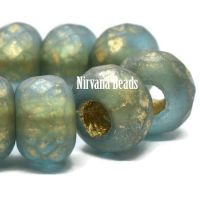 8x12mm Large Hole Roller Bead Blue Green with a Gold Wash and Lining