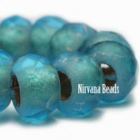 8x12mm Roller Bead Pacific Blue with Gold Lining