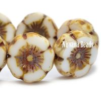 12mm Hibiscus Flower White with Picasso Finish