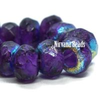 6x9mm Large Hole Roller Bead Purple Pansy with a Purple Wash and An AB Finish