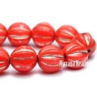 6mm Melon Coral with Bronze Wash