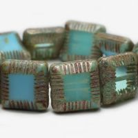 14mm Framed Square Beads Medium Sky Blue & Tea Green with Picasso Finish