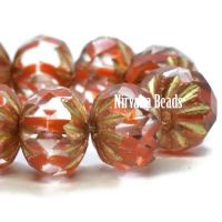 6x9mm Cruller Transparent Glass and Ladybug Red with a Gold Wash.