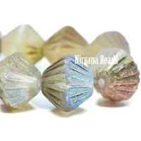 11mm Tribal Bicone Ivory with AB and Etched Finish