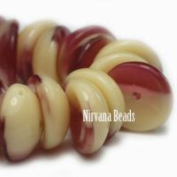 4x8mm Piggy Bead Maroon and Ivory