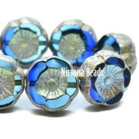 12mm Hibiscus Flower Sapphire and Sky Blue with Antique Silver and AB Finish