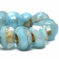 6x9mm Large Hole Roller Bead Sky Blue with Gold